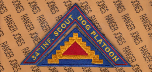 """US Army Seventh 7th Army """"34th INF. SCOUT DOG PLATOON"""" SSI tab patch setArmy - 66529"""