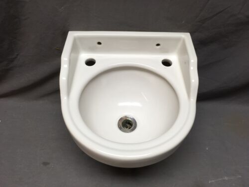 "Small Vtg 13"" Mid Century White Porcelain Bath Sink Universal Rundle Old 380-20E"