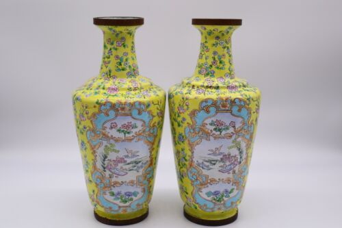 Large Chinese Antique Yellow Cloisonné Enamel Vase Pair With Flowers
