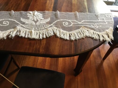 Antique Filet Crochet Curtain Valance Pelmet