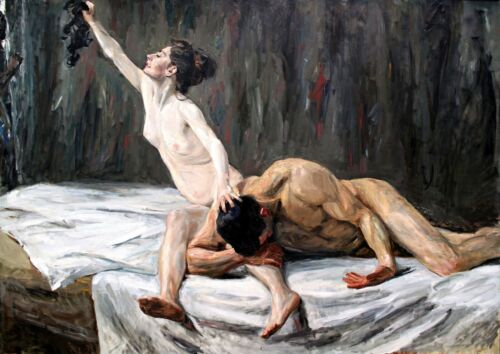Samson and Delilah Painting by Max Liebermann Art Reproduction