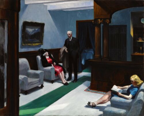 Hotel Lobby Painting by Edward Hopper Art Reproduction
