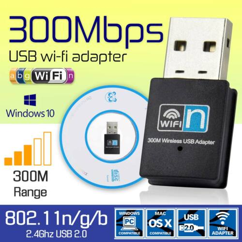 USB Wireless WiFi Mini 300 Mbps LAN Network Receiver Card Adapter For Desktop PC