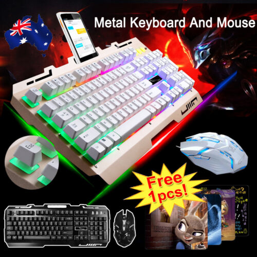 T6 Gaming Keyboard Mouse Set Rainbow Backlight Usb Ergonomic for PC Laptop +Gift