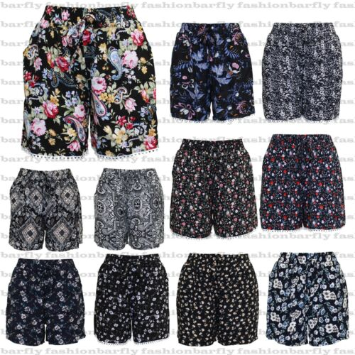 New Ladies Girls Plus Size Cotton Shorts Elasticated Waist Summer Lounge Beach