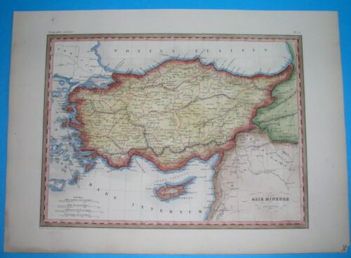 1846 NICE ORIGINAL MAP TURKEY CYPRUS ARMENIA SYRIA CONSTANTINOPLE IZMIR SMYRNA