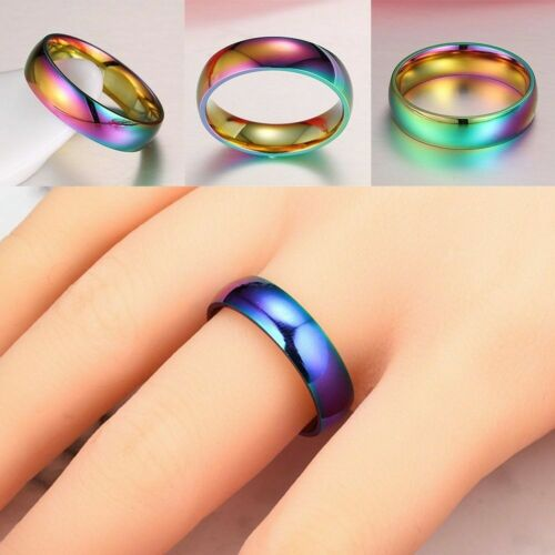 Hematite Titanium Steel Rainbow Colorful Rings Wedding Engagement Band K0q2
