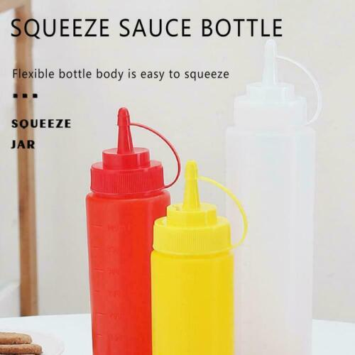 8 12 16 24oz Squeeze Bottle Set Squirt Condiment Bottles W/ Cap Tip M5v0