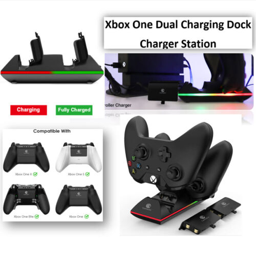 Xbox One Dual Charging Dock Charger Station + 2 X 800mAh Rechargeable Batteries