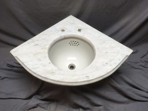 "Antique Corner Marble Sink Viterous 12"" Round China Basin Old Vintage 445-20E"