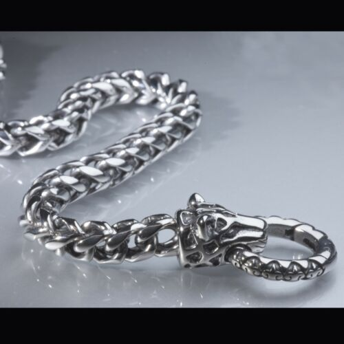 Silver Bracelet Stainless Steel braided link chain leopard high polished 21cm