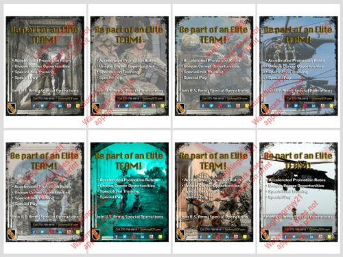5th Special Forces Group Green Berets Elite Team Set Of 8 Recruiting Posters
