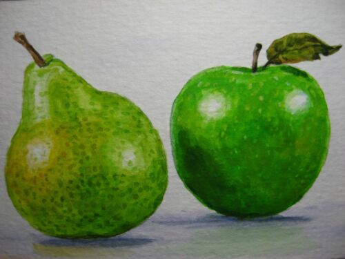 Watercolor Painting Green Pear and Apple Fruit Still-life Food ACEO Art