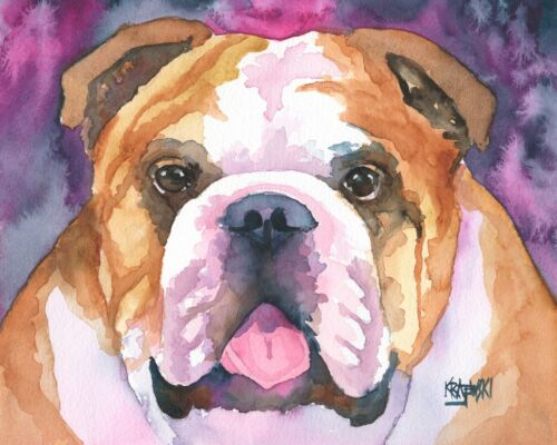 English Bulldog Art Print from Painting | Gifts, Poster, Wall Art, Picture 8x10