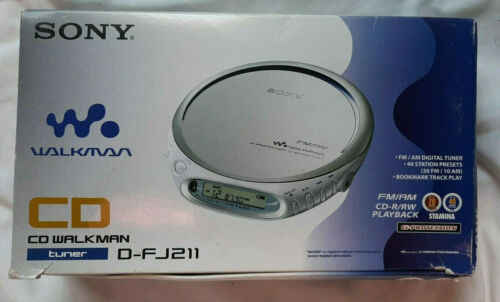 D-FJ211 Sony Walkman Discman CD Player Original Box Vintage Retro - Tested Works
