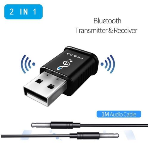Bluetooth 5.0 USB Audio Adapter Transmitter Receiver for TV PC Car AUX Speaker