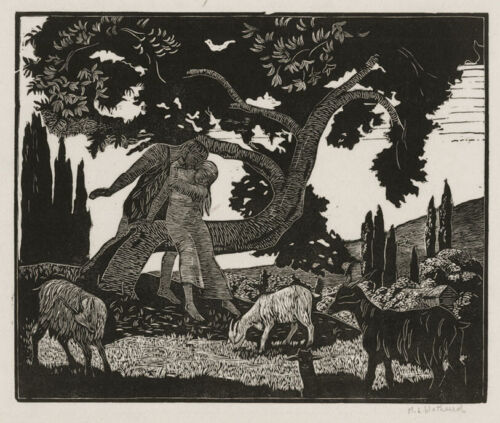A fine Wood engraving by Maud Wethered, Daphnis and the Maiden, pencil signed