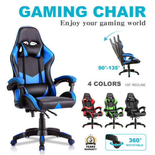 Executive Office Computer Gaming Chair Racer Recliner Chairs PU Leather Seat <br/> 6 Colors✔Headrest&Backrest✔360°Swivel✔Adjustable Height