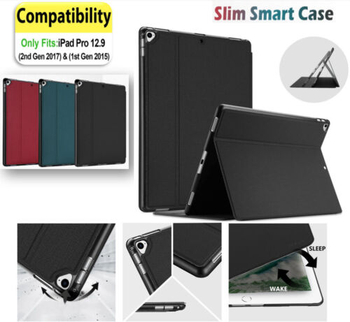 Case For iPad Pro 12.9 Inch 2017/15 (2nd Gen) Leather Folding Stand Folio Cover
