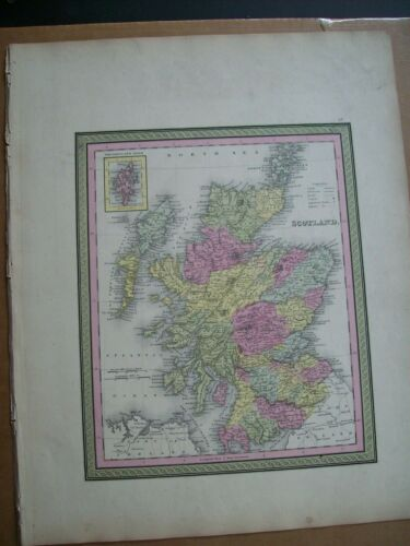 Antique 1854 MITCHELL MAP SCOTLAND Railroads hand tinted   old