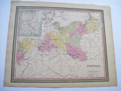 Antique 1854 MITCHELL MAP PRUSSIA  #54 old