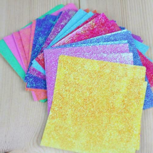 50pcs Square Origami Paper Single Side Glitter Folding Solid Color Papers 2 O2g5