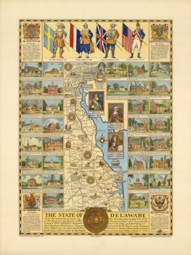 1938 PICTORIAL Map The State of Delaware historic POSTER 9622