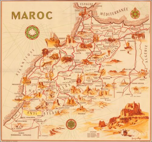 Morocco 1950 Pictorial map focused  roads major towns tourist attractions 48906