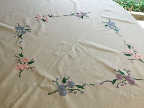 Antique Tablecloth  White Linen Embroidered