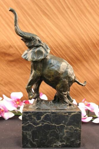 Signed Milo, Bronze Statue elephant book end bookend bronze sculpture Figurine