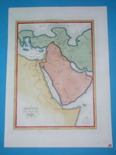 1838 ORIGINAL MAP WORLD AFTER DELUGE MIDDLE EAST ISRAEL ISRAELITES ARABIA ASIA