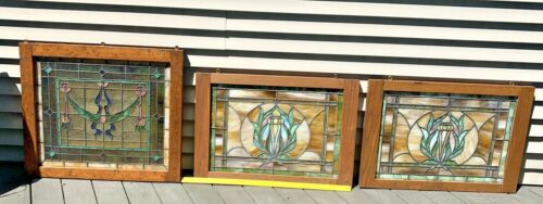 Antique Stained Glass Window Lot of Three