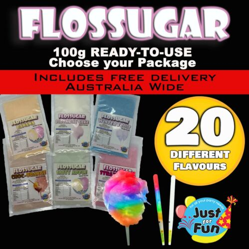 FAIRY FLOSS SUGAR 100G READY TO USE | CHOOSE YOUR PACKAGE | 20 FLAVOURS