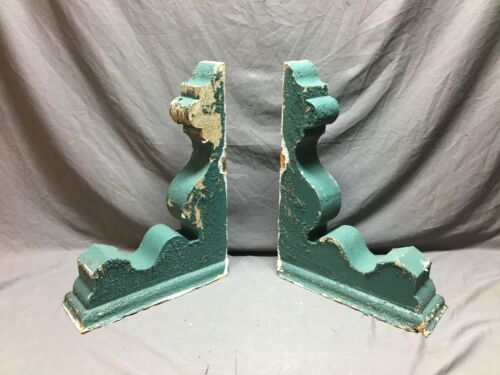 Pair Antique Wood Corbel Roof Bracket Victorian Shabby Green Vintage 796-20B