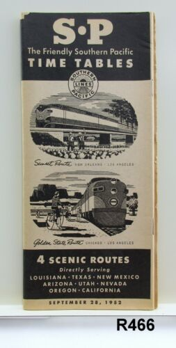 Vintage Sep 28, 1952 SP Southern Pacific Railroad Time Table Schedule R466