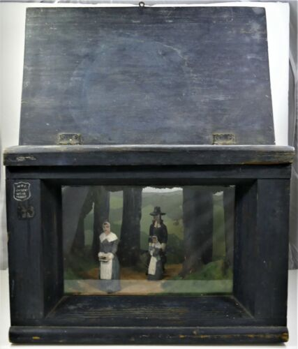 RARE Vintage WPA Diorama - Colonial Wilderness Landscape - Hand Carved & Painted