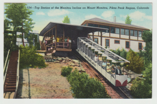 Top, Station, Incline Railway,, Manitou, Co, Linen Postcard