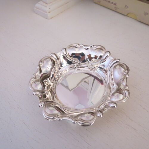 Vintage sterling silver pin dish art nouveau style but modern in date HM 1970