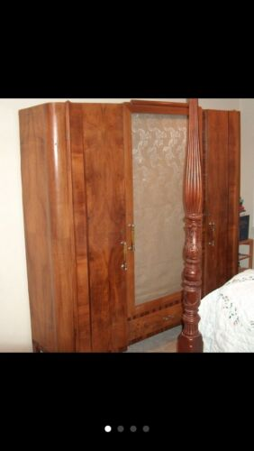 1930s Art Deco Three Part Armoire Wardrobe Burled Wood Nouveau Cabinet Vintage
