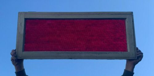 Antique Red Colored Glass Transom cabinet Door Window 14x34 Old Vtg 201-20J