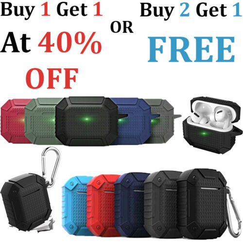 AirPod Pro 1/2 Waterproof Total Protection Rugged Case Shockproof Carabiner Army