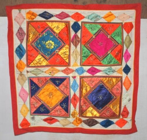 Vintage Indian Satin Hand Patch Work Embroidered Tapestry Ethnic Home Wall Decor