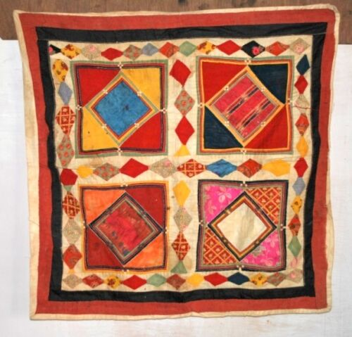Old Vintage Indian Satin Fabric Hand Made Patch Work Home Wall Hanging Tapestry