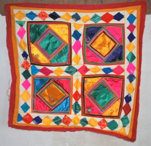 """Vintage Indian Hand Patch Work Satin Embroidered Tapestry Ethnic Wall Decor 26"""""""