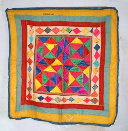 """Vintage Old Poly Satin Cotton Tapestry Hand Patch Work Ethnic Wall Decor 40"""" Big"""
