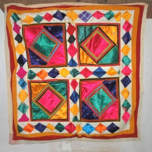 Old Vintage India Satin Fabric Hand Made Patch Work Home Wall Decor Tapestry