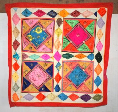 Vintage Old Indian Satin Fabric Hand Patch Work Wall Home Decor Tapestry