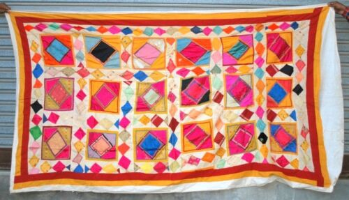 Old Vintage Bedsheet Tapestry Indian Satin Hand Patch Work Wall Home Decor