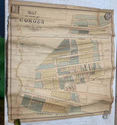 Antique 1857 Map Part of COHOES Albany NEW YORK for Philip Schuyler from Estates