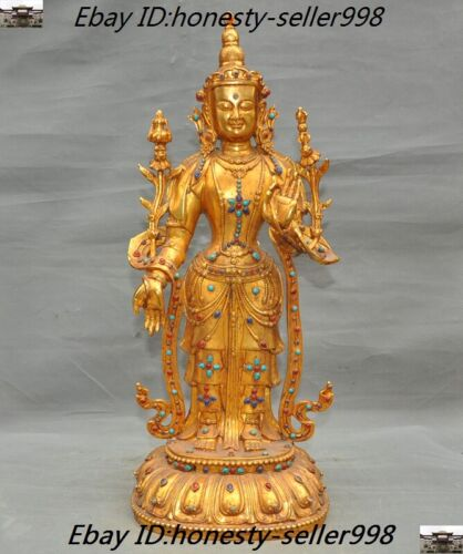 Old Tibetan Buddhism Bronze 24k gold Gilt Inlay gem tara Kwan-Yin Guanyin statue